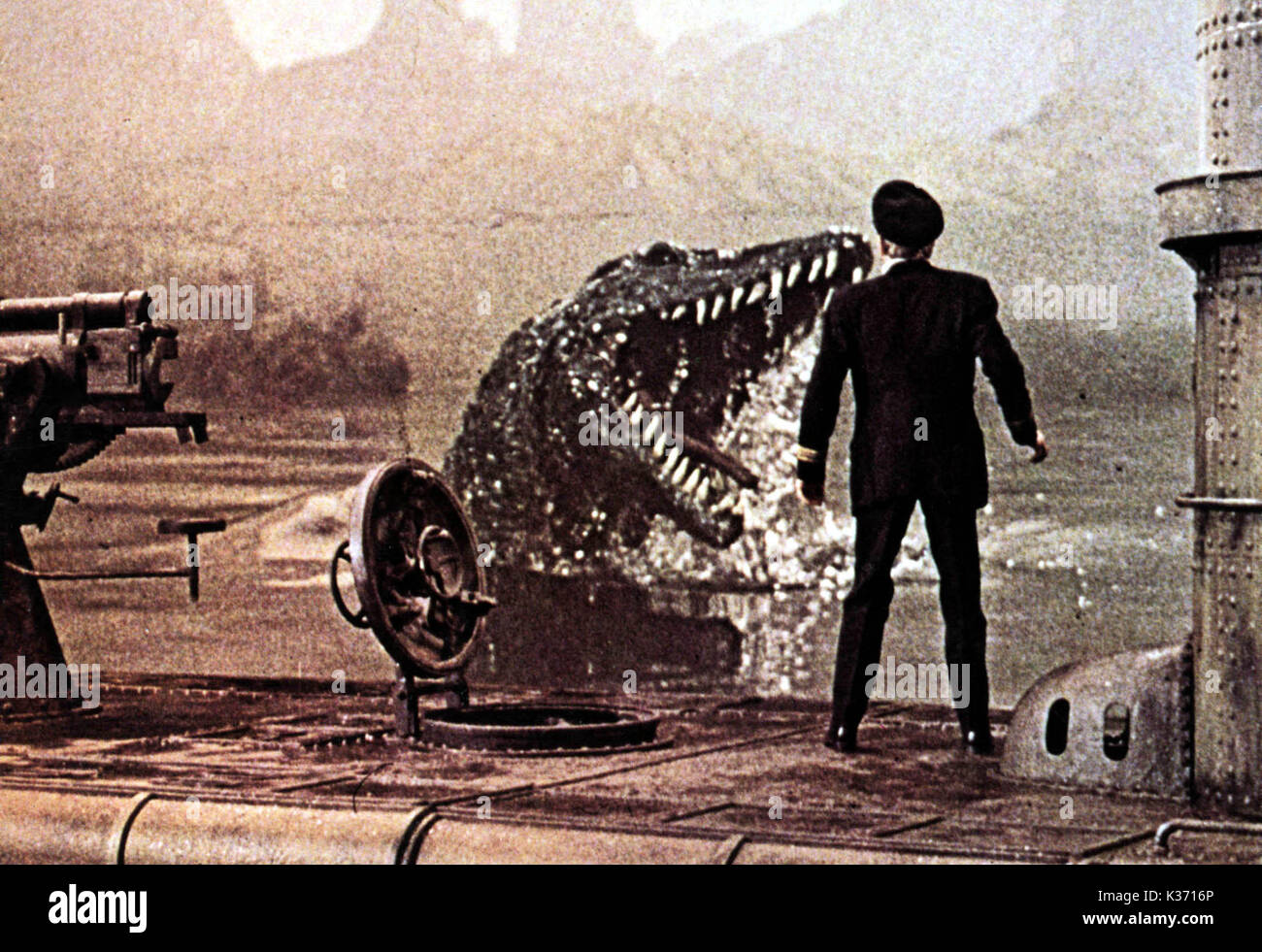 THE LAND THAT TIME FORGOT LOCH NESS MONSTER     Date: 1975 - Stock Image