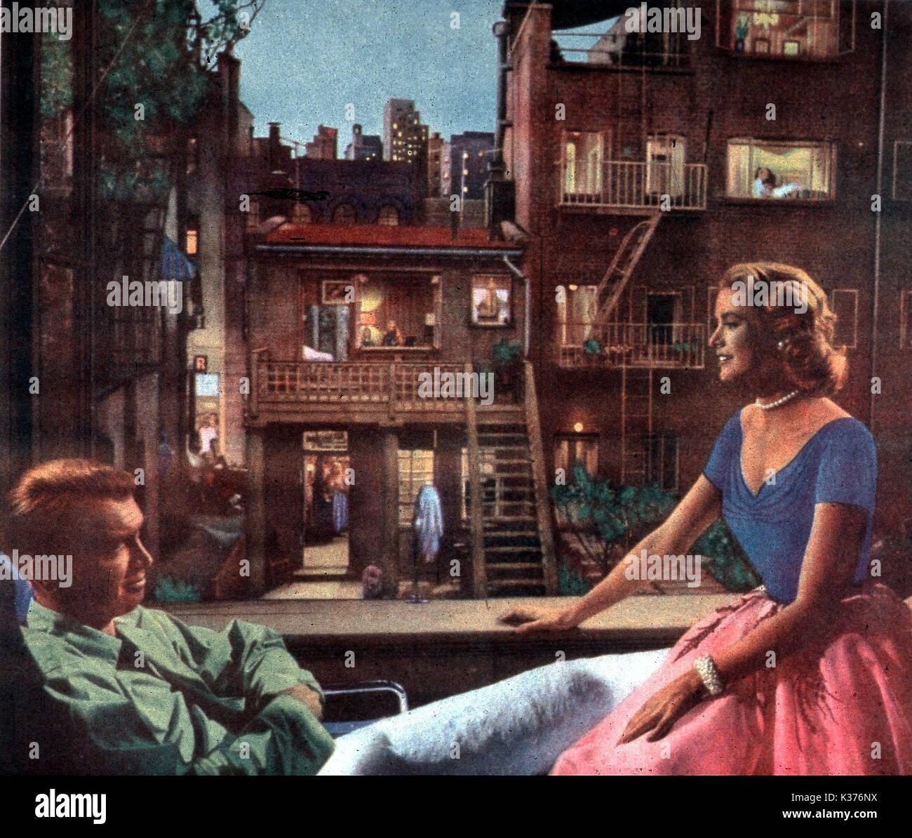 REAR WINDOW JAMES STEWART, GRACE KELLY     Date: 1954 - Stock Image