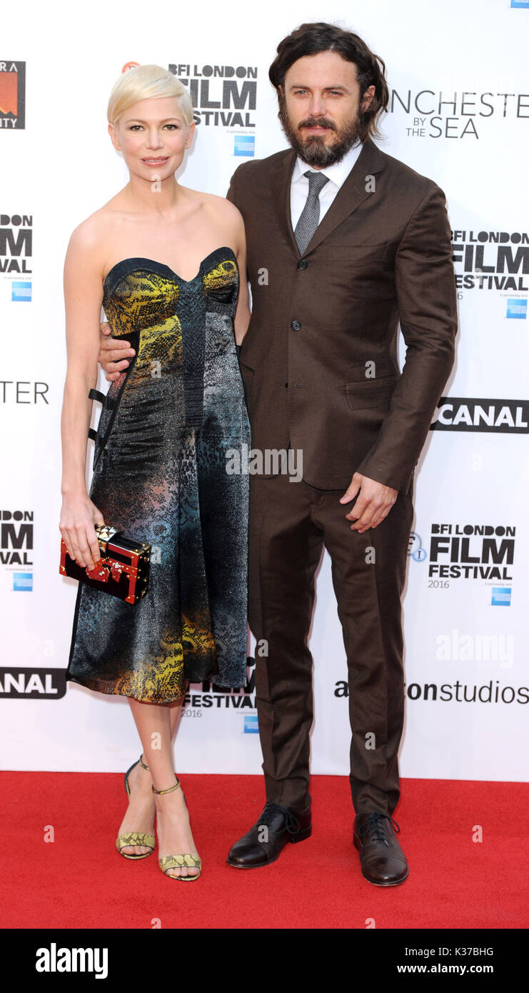 Photo Must Be Credited ©Alpha Press 079965 08/10/2016 Michelle Williams and Casey Affleck at the Manchester By The Sea International Movie Premiere screening during the 60th BFI London Film Festival at Odeon Leicester Square in London. - Stock Image