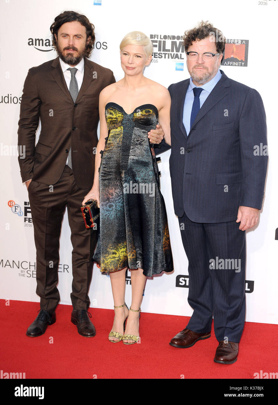 Photo Must Be Credited ©Alpha Press 079965 08/10/2016 Casey Affleck, Michelle Williams and director Kenneth Lonergan at the Manchester By The Sea International Movie Premiere screening during the 60th BFI London Film Festival at Odeon Leicester Square in London. - Stock Image