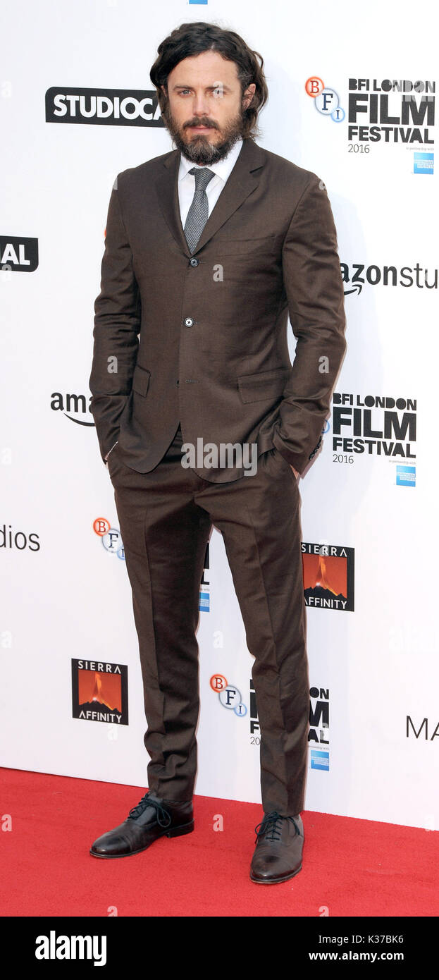 Photo Must Be Credited ©Alpha Press 079965 08/10/2016 Casey Affleck at the Manchester By The Sea International Movie Premiere screening during the 60th BFI London Film Festival at Odeon Leicester Square in London. - Stock Image