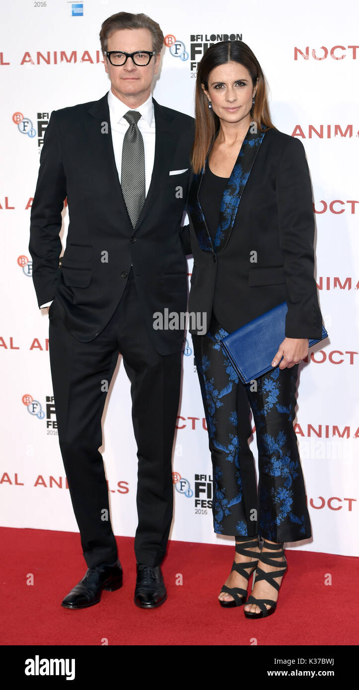 Photo Must Be Credited ©Alpha Press 079965 14/10/2016 Colin Firth and wife Livia Firth Giuggioli  at the Nocturnal Animals premiere during the 60th BFI London Film Festival at Odeon Leicester Square in London. - Stock Image