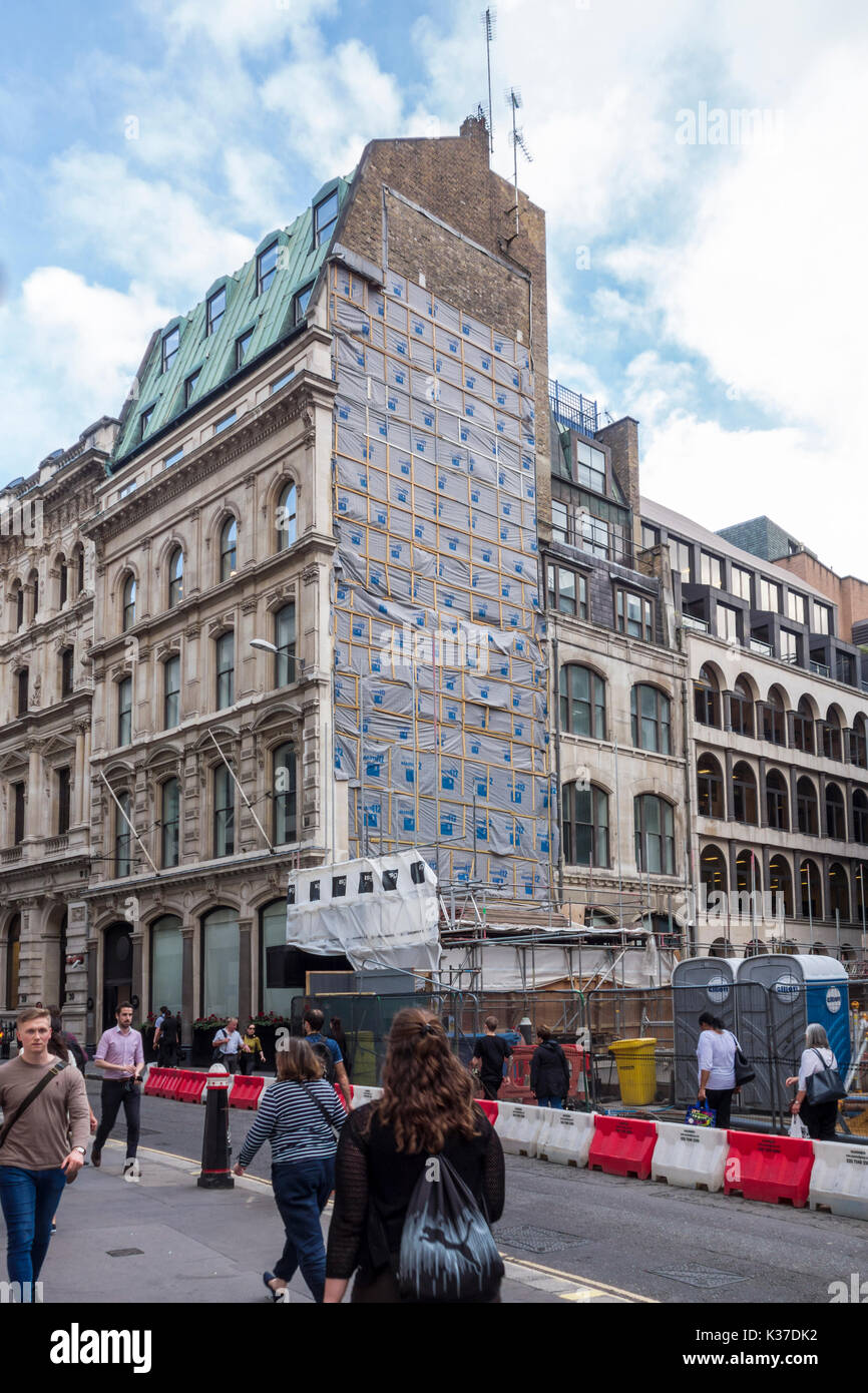 30-32 Lombard Street building removed exposing the original connection with the existing building. London, UK - Stock Image
