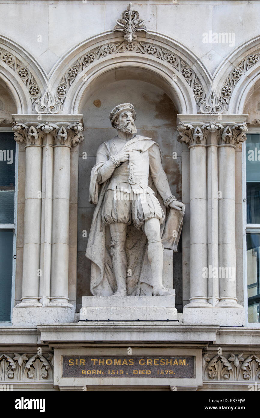 A statue of historic figure Sir Thomas Gresham, located at Holborn Viaduct in London, UK. Gresham was an English merchant and financier. - Stock Image