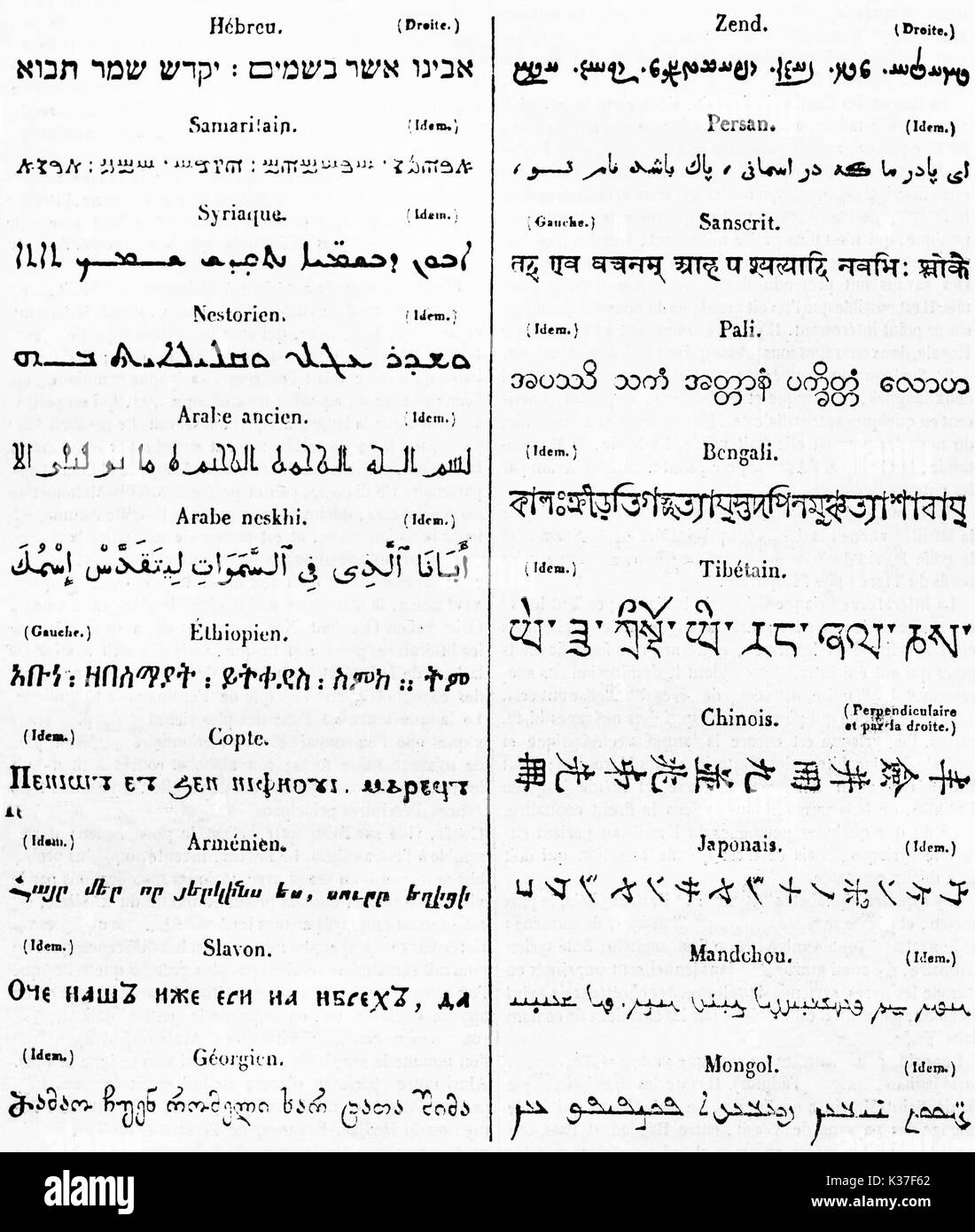 Ancient table list of exotic alphabets, black fonts on white paper. Published on Magasin Pittoresque Paris 1834 - Stock Image