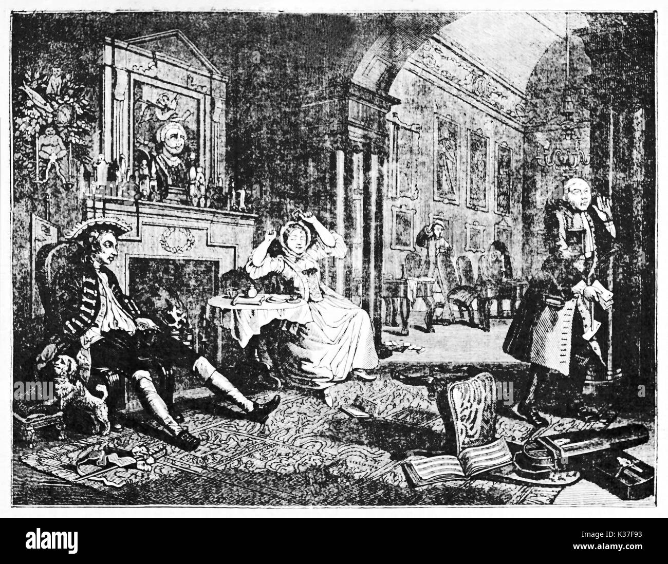 Ancient aristocratic people quarrel in a elegant living room (Marriage-A-la-mode second of six pictures). ld Illustration by Hogarth depicting published on Magasin Pittoresque Paris 1834 - Stock Image