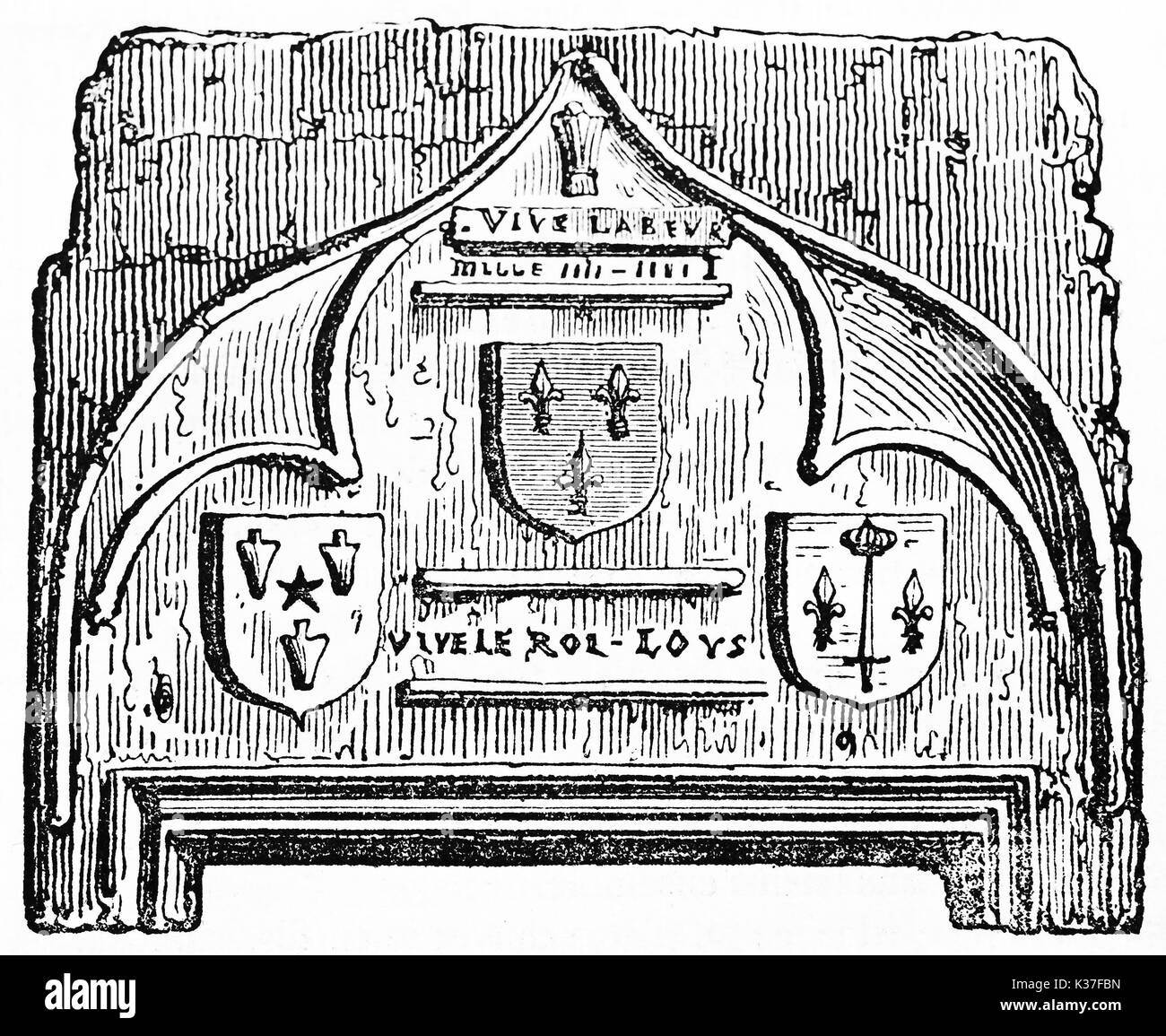 Ancient isolated detail of medieval decoration over Joan of Arc house door in Domremy France. Old Illustration by unidentified author published on Magasin Pittoresque Paris 1834. - Stock Image