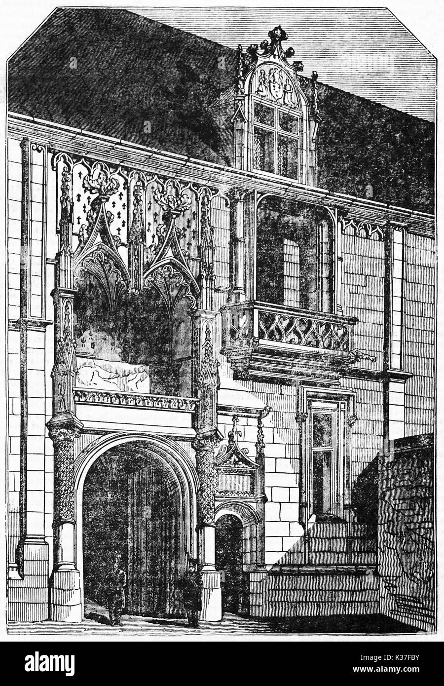 Ancient front view of Blois castle portal (east facade), majestic, elegant and aristocratic architecture. Old Illustration by unidentified author published on Magasin Pittoresque Paris 1834 - Stock Image