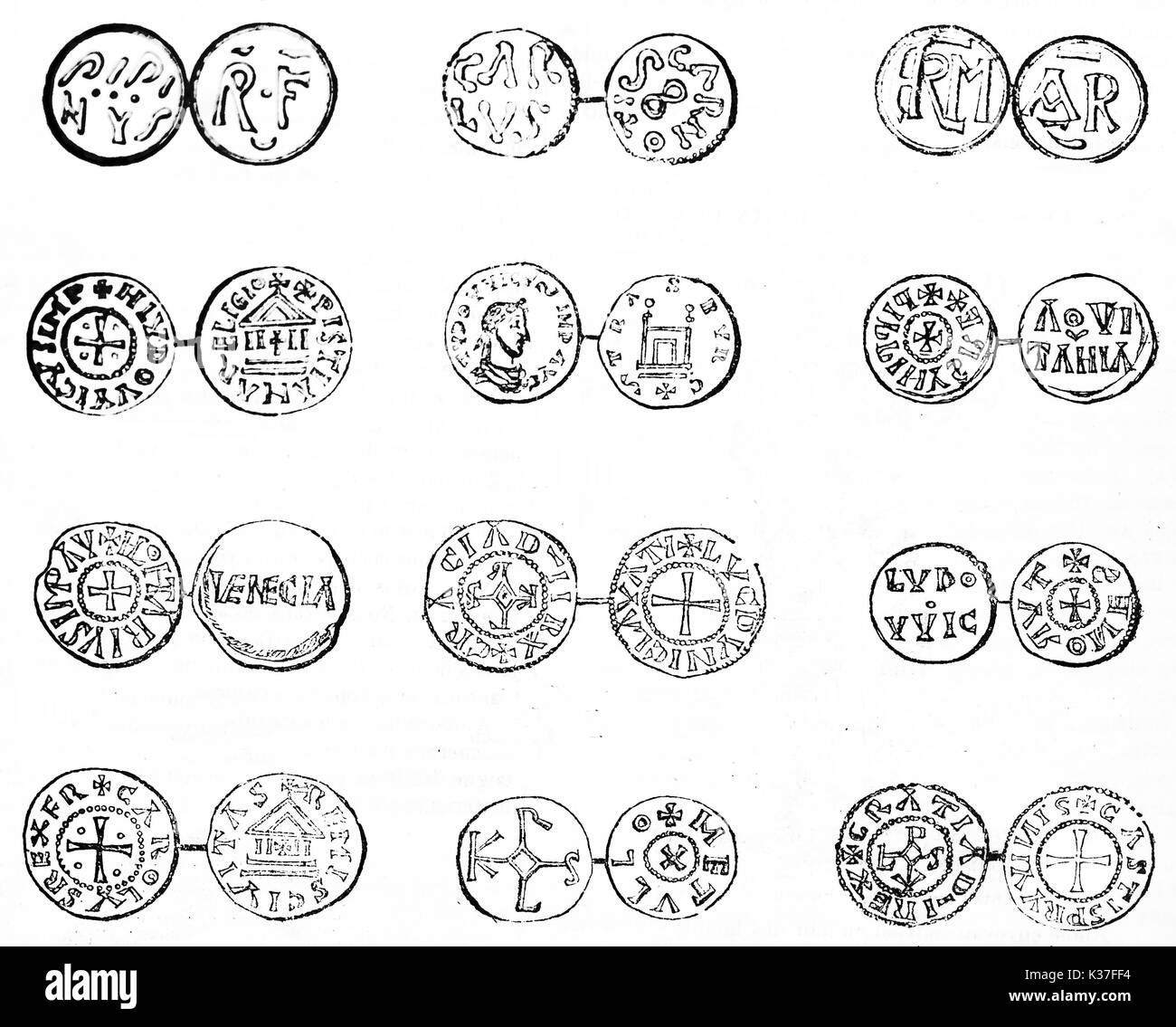 Antique set of french coins, isolated on white background. Old Illustration by unidentified author published on Magasin Pittoresque Paris 1834 - Stock Image