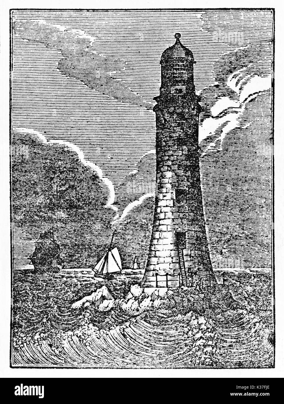 Ancient lighthouse on a rough sea in the night, Eddystone lighthouse. Old Illustration by unknown author publ. on Magasin Pittoresque Paris 1834 - Stock Image