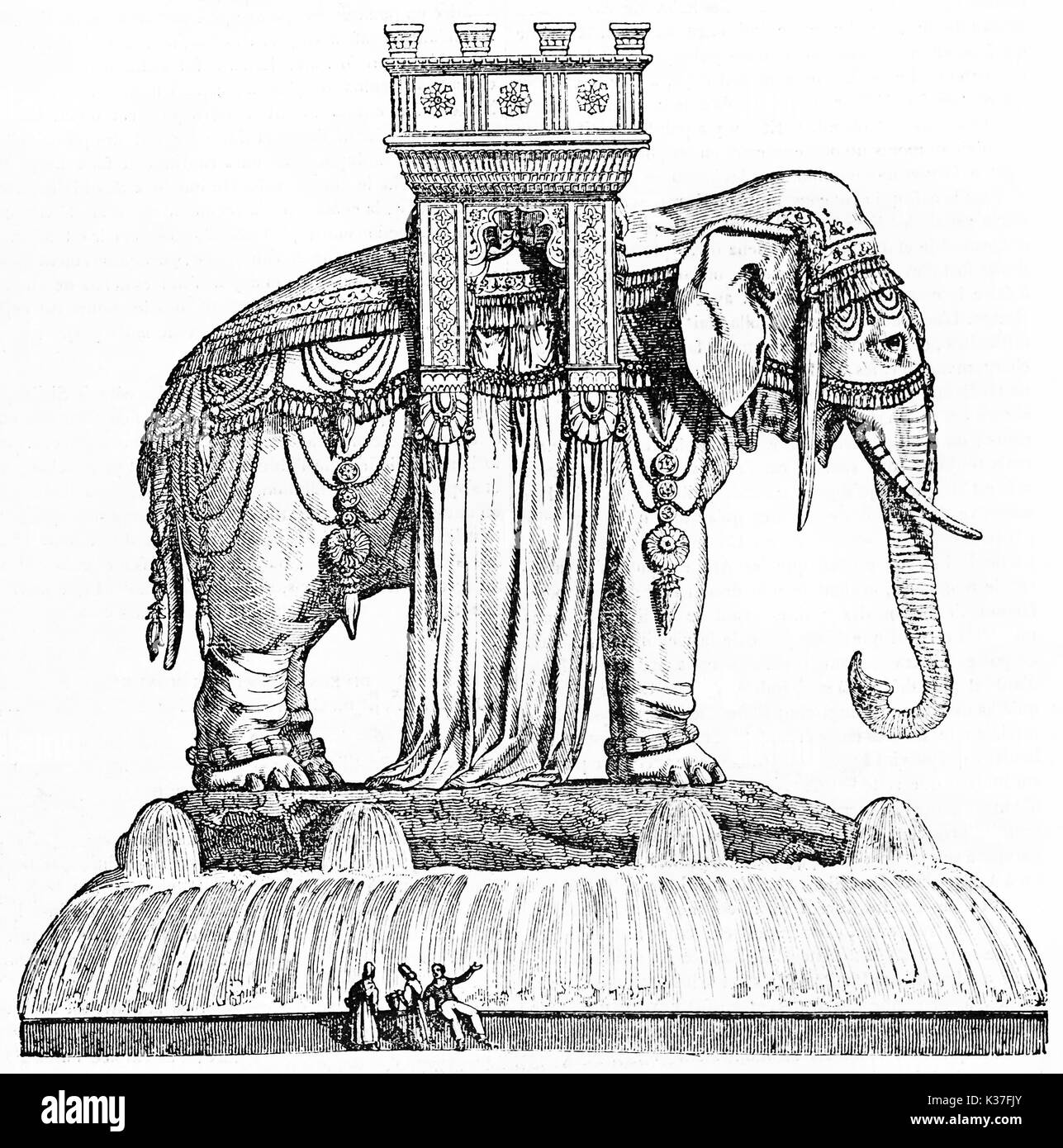 Gigantic monument of a elephant statue for the Bastille square in Paris (unrealized project after Bastille destruction). Old Illustration by unidentified author, on Magasin Pittoresque Paris 1834 - Stock Image