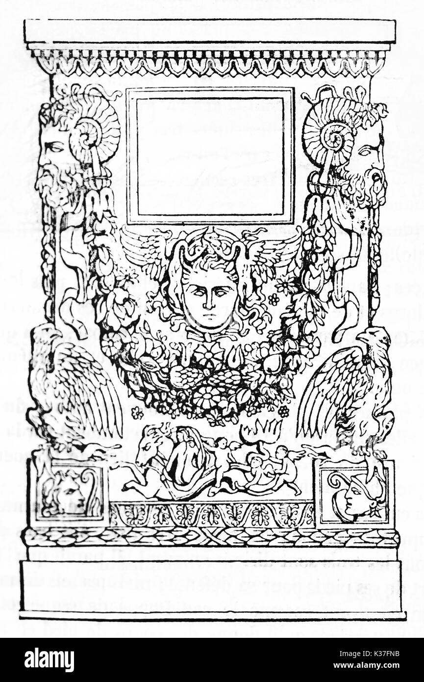Ancient greek funerary monument rich of classic decorations executed with a simple black outline. Old Illustration by unidentified author published on Magasin Pittoresque Paris 1834 - Stock Image