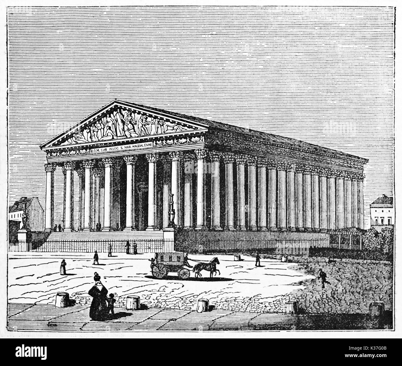Overall view of La Madaleine church, Paris, similar to an ancient greek temple. Old Illustration by Jackson published on Magasin Pittoresque Paris 1834 - Stock Image