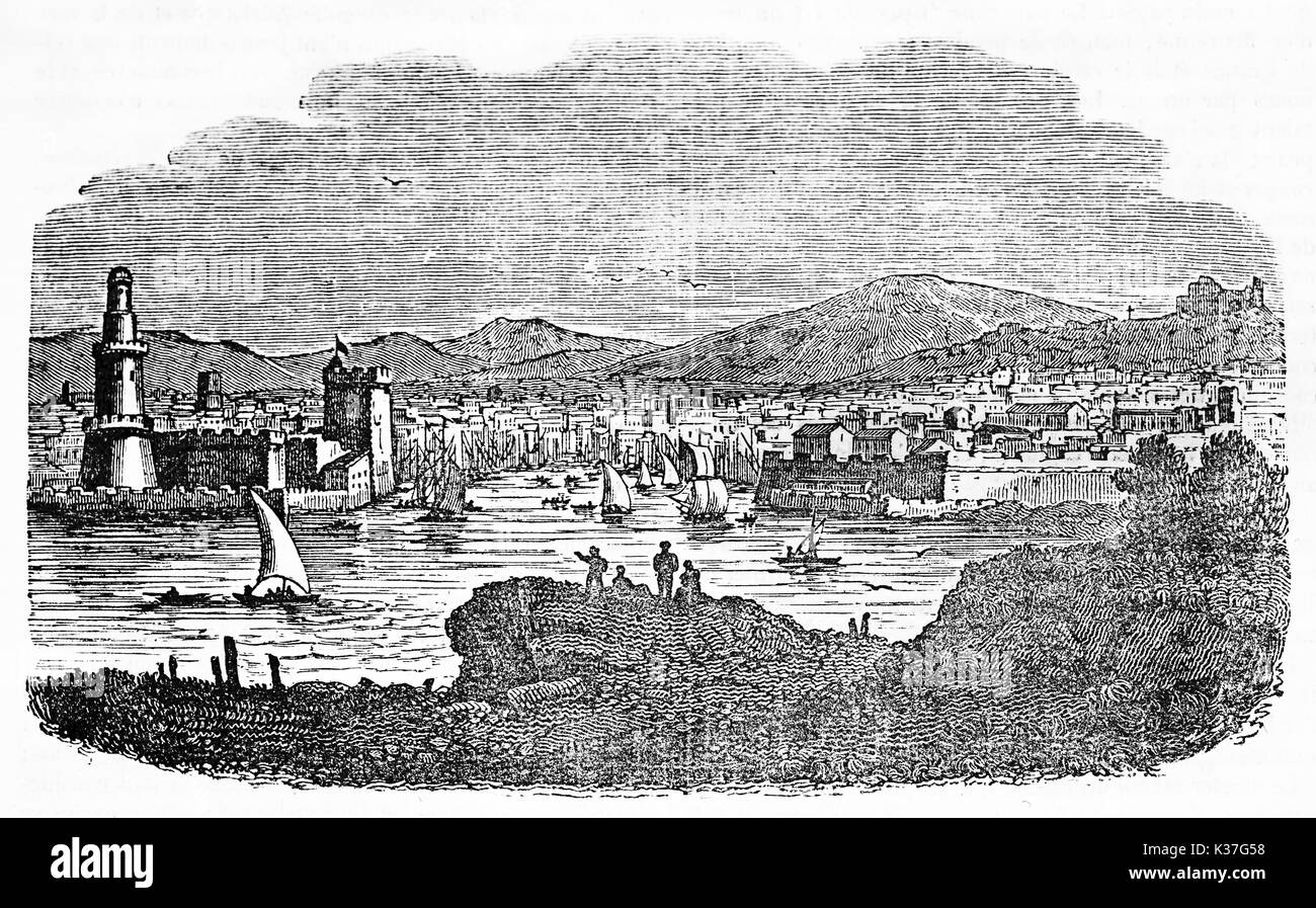 Ancient seaside town and his port with sailboats. Marseilles, France. Created Old Illustration by Lee, published on Magasin Pittoresque, Paris, 1834 - Stock Image