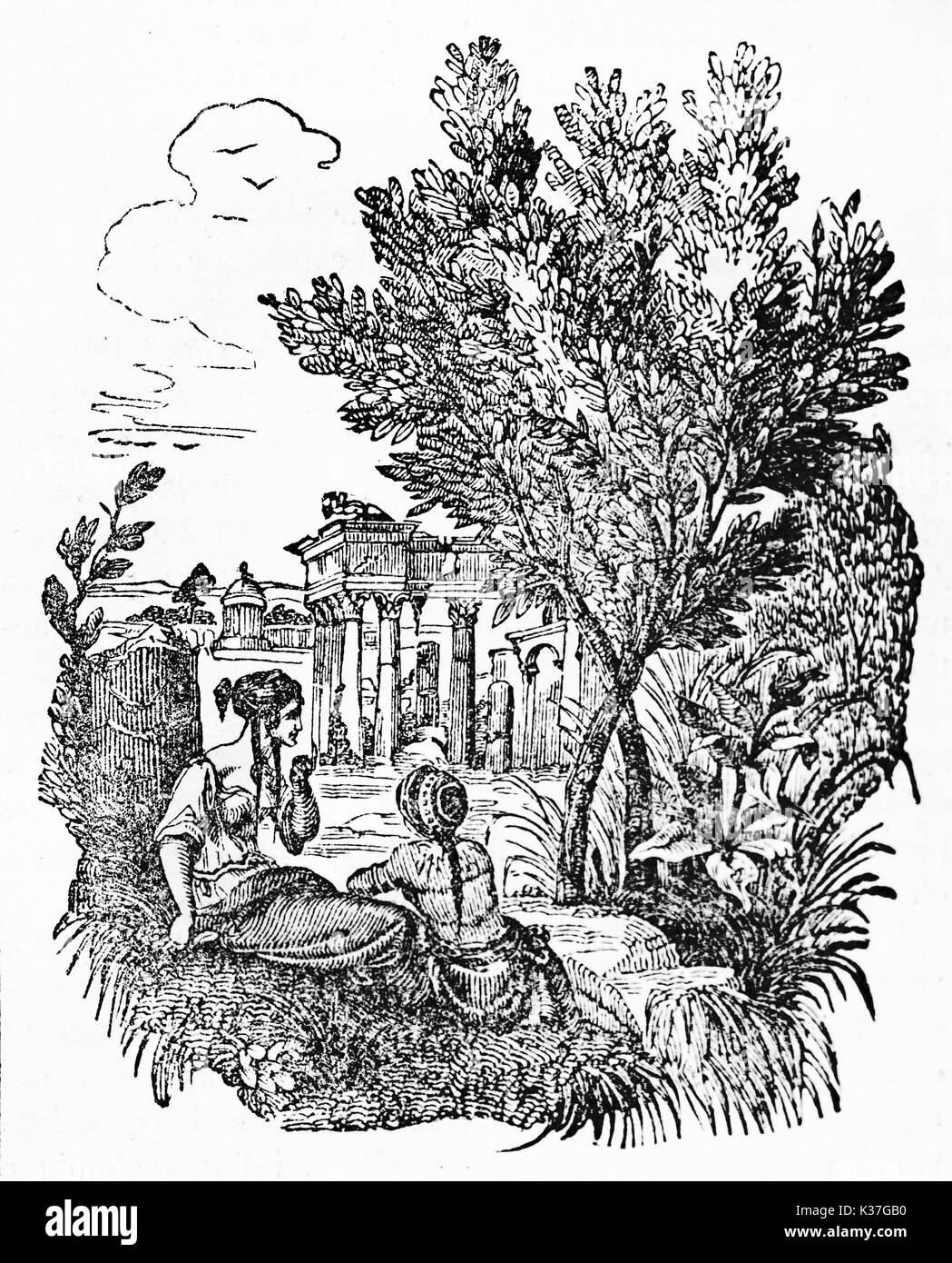 Olive tree standing in an ancient greek bucolic place close to ancient greeks persons. Old Illustration by unidentified author, published on Magasin Pittoresque, Paris, 1834. - Stock Image