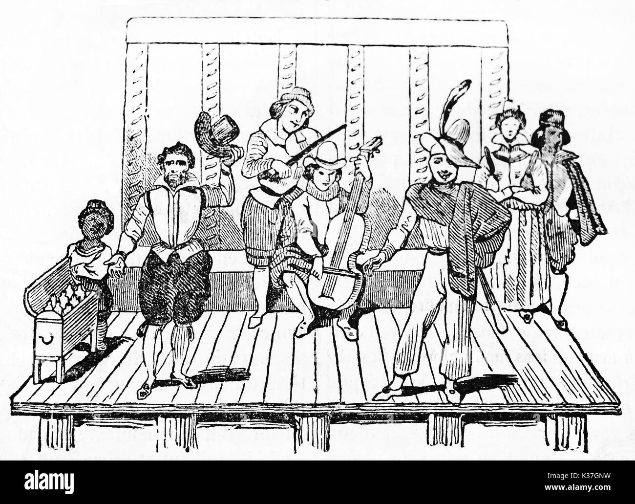 Ancient musicians and actors of Tabarin (and Mondor) Parisian street theater playing on the stage. After engraving of 17th century published on Magasin Pittoresque Paris 1834 - Stock Image