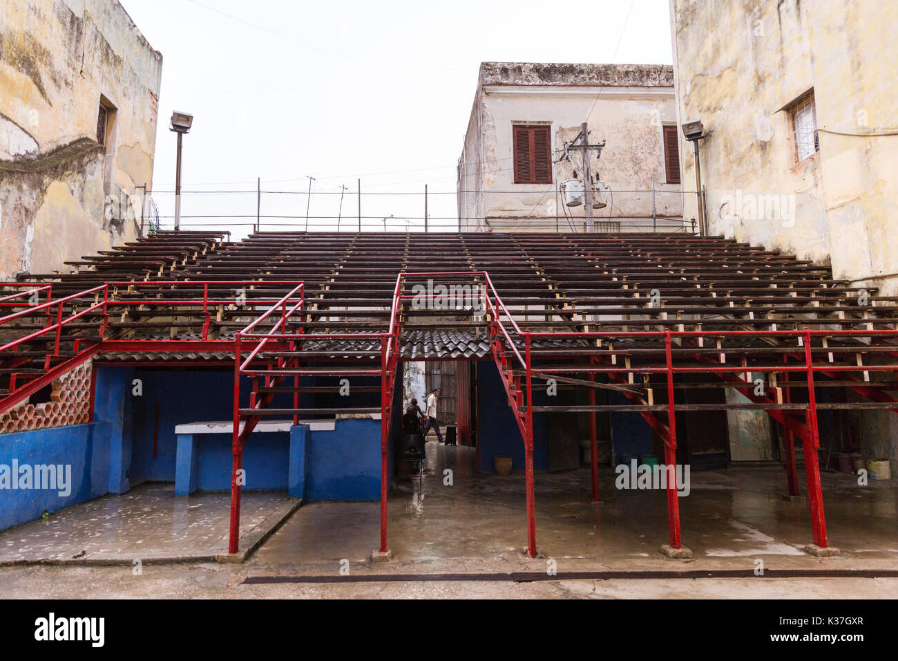 Open air seating interior at the popular Gimnasio  Rafael Trejo boxing ring and venue in Habana Vieja, Havana, Cuba - Stock Image