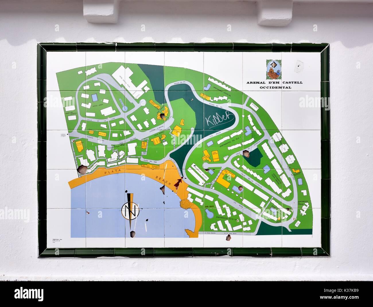 Arenal den castell tourist resort map Menorca Minorca Stock ...