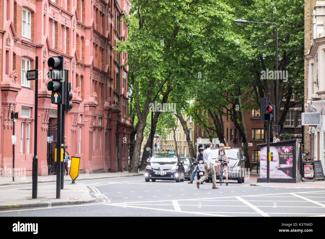 View of Grays Inn Buildings and trees on Rosebery Avenue from Clerkenwell Road, London, UK - Stock Image