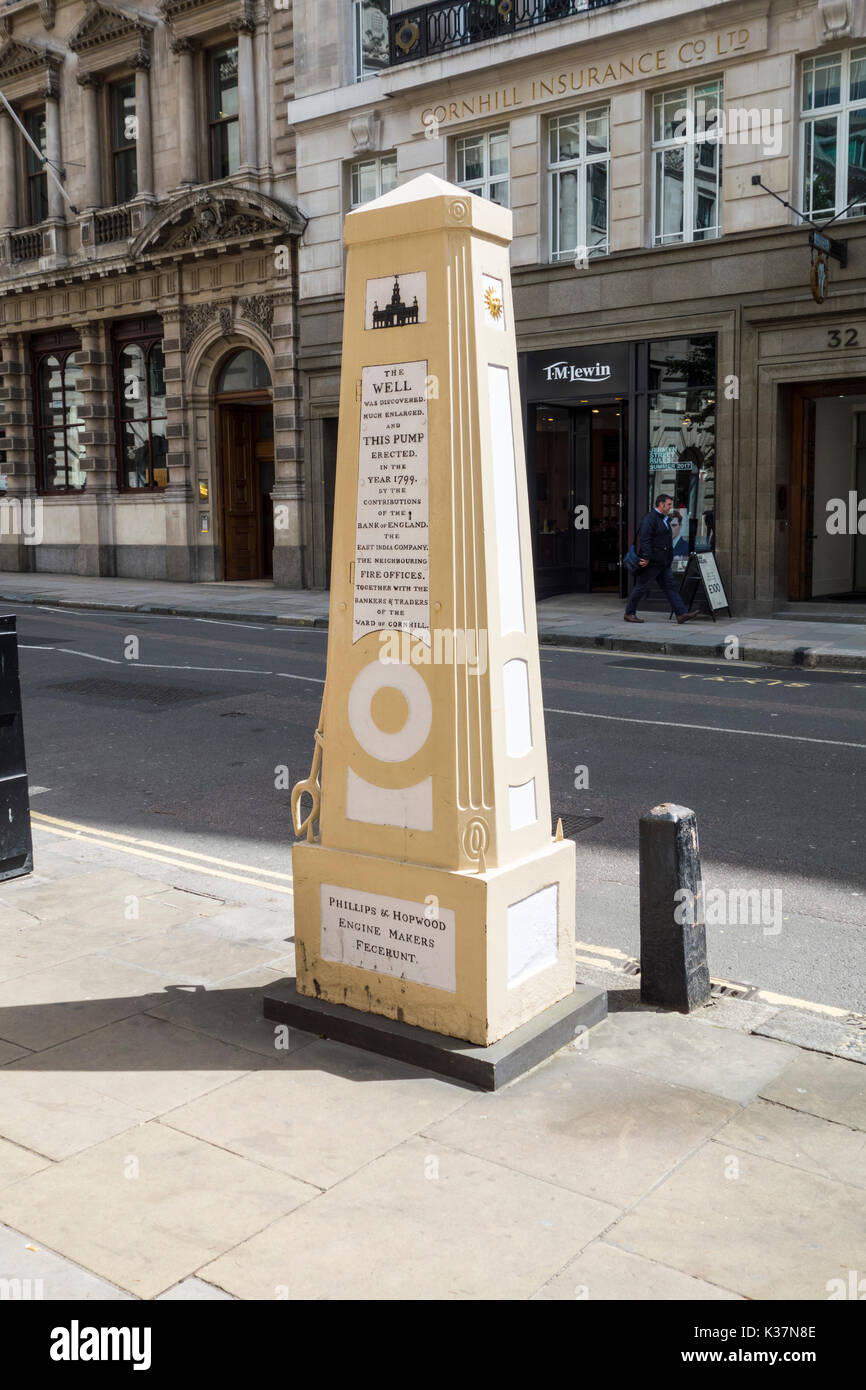 The Cornhill Water Pump, Royal Exchange, City of London, UK - Stock Image