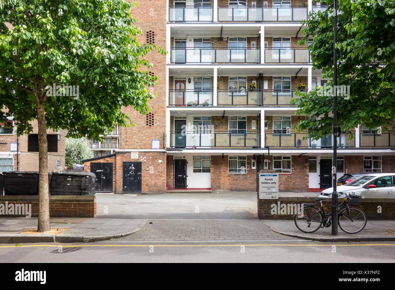 Peabody Buildings, flats, apartments, social housing. Banner Street, London, UK - Stock Image