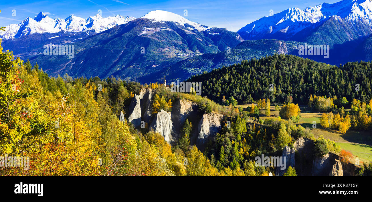 Impressive mountain landscape, north italy,panoramic view. - Stock Image