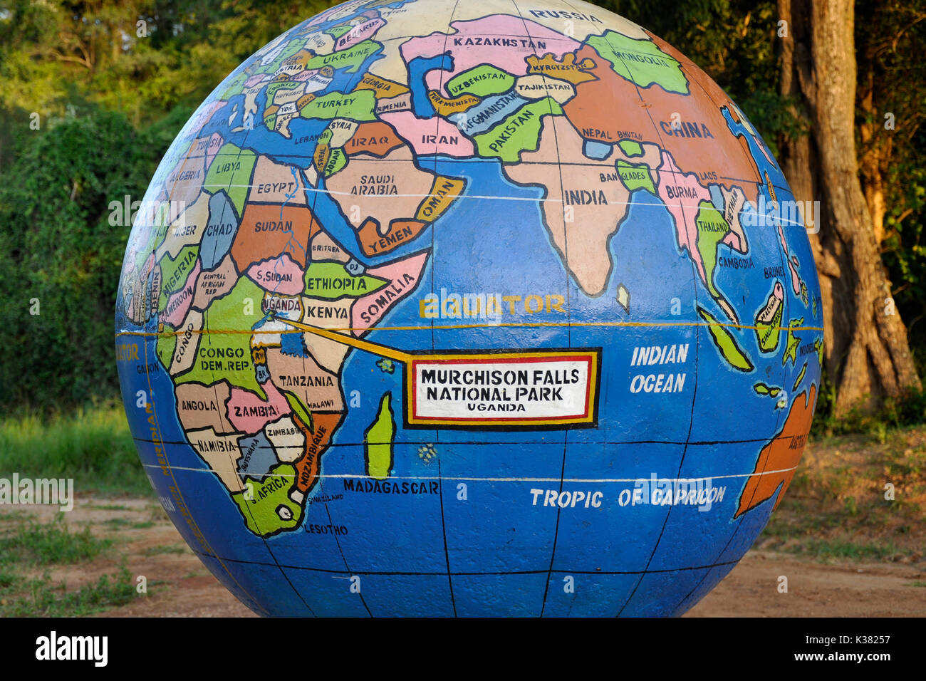 Uganda, World Map at Nile River Deck Stock Photo: 156914611 - Alamy