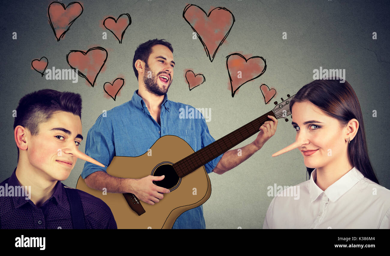 New relationship concept. Love triangle. Young man in love and two liars - Stock Image