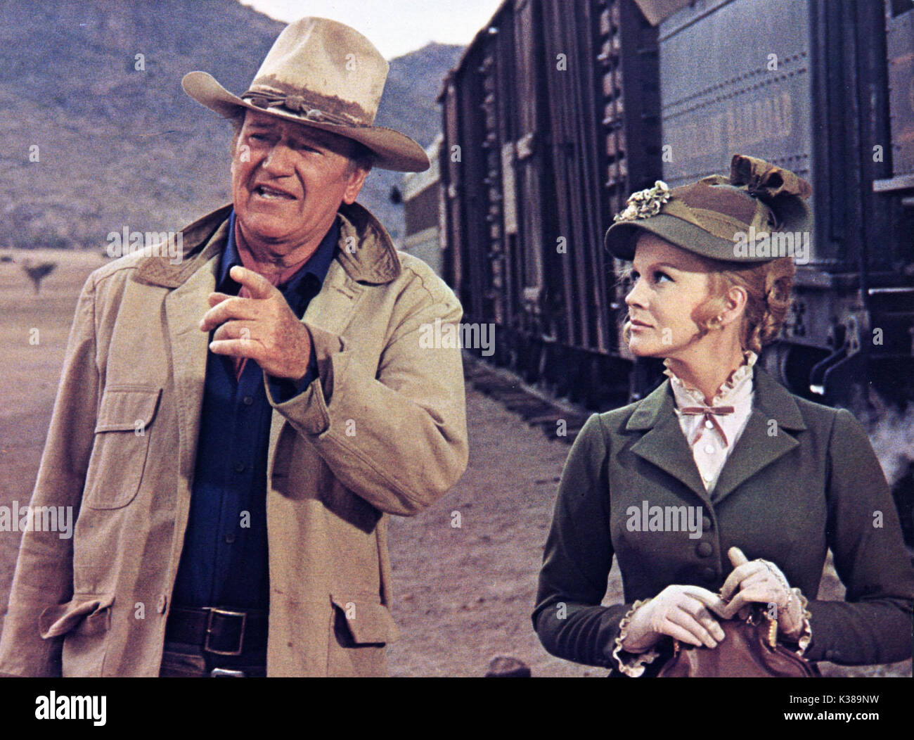 THE TRAIN ROBBERS JOHN WAYNE AND ANN-MARGARET A WARNER BROS FILM     Date: 1973 - Stock Image