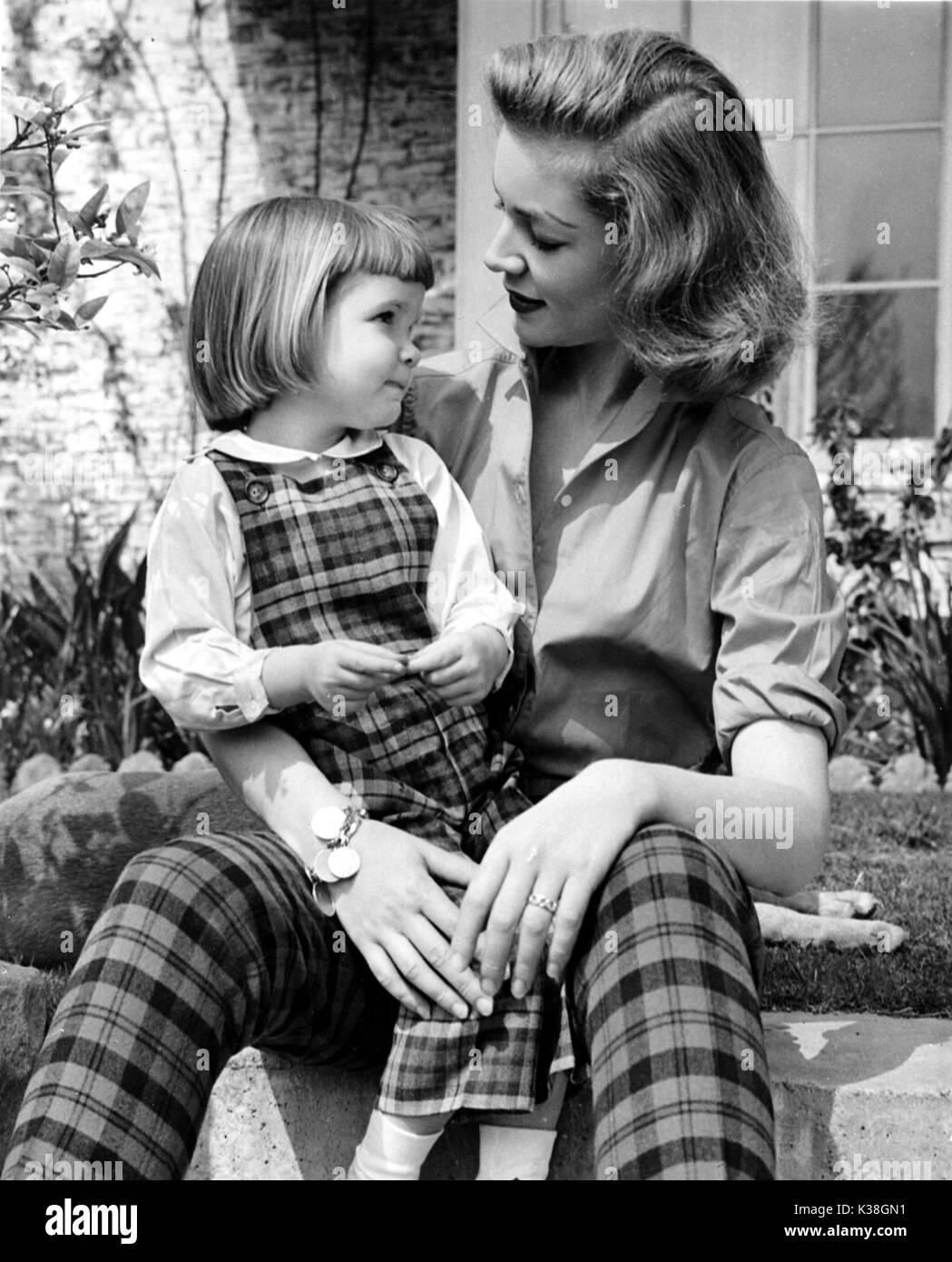 lauren bacall with daughter leslie bogart stock photo