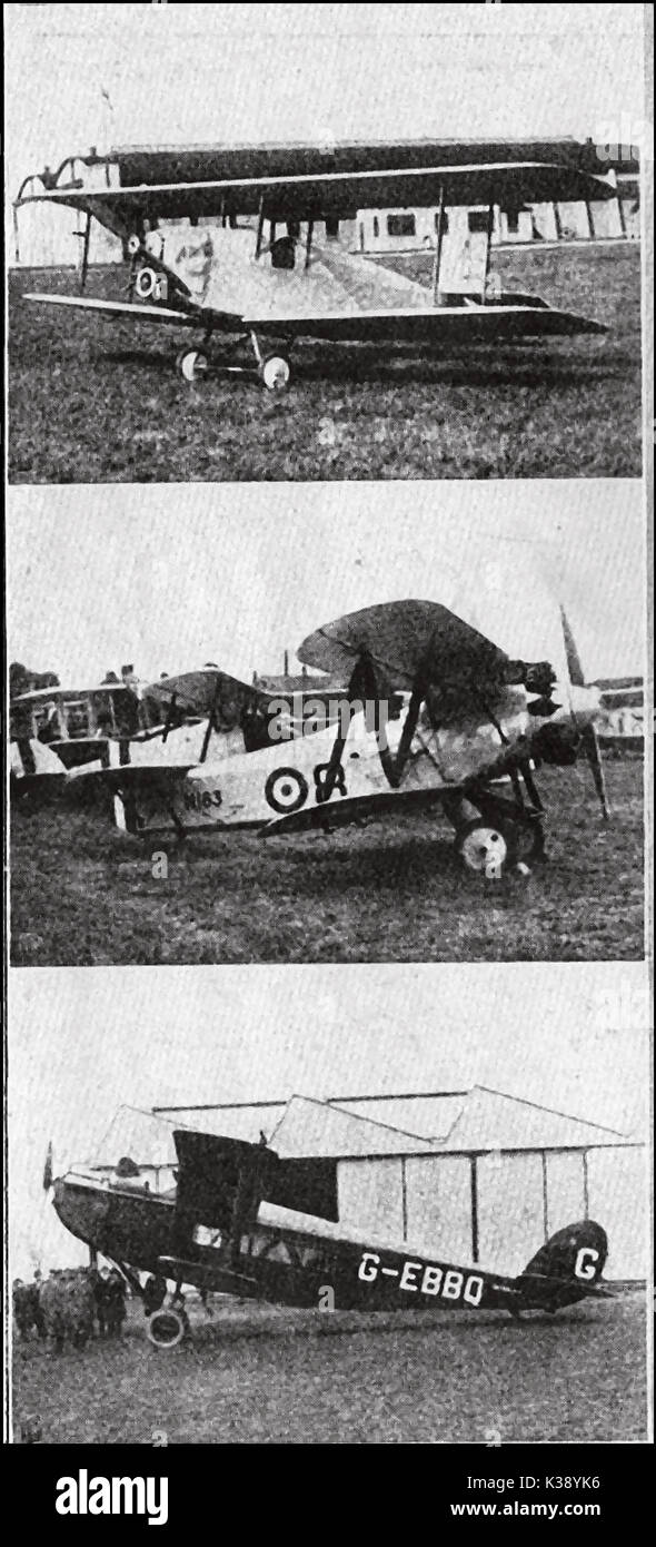 A selection of 'Modern' British aeroplanes in 1924 - Vickers Viget -  Fairey Fly Catcher (a ship's plane with optional floats) & a commercial Napier Lion - Stock Image