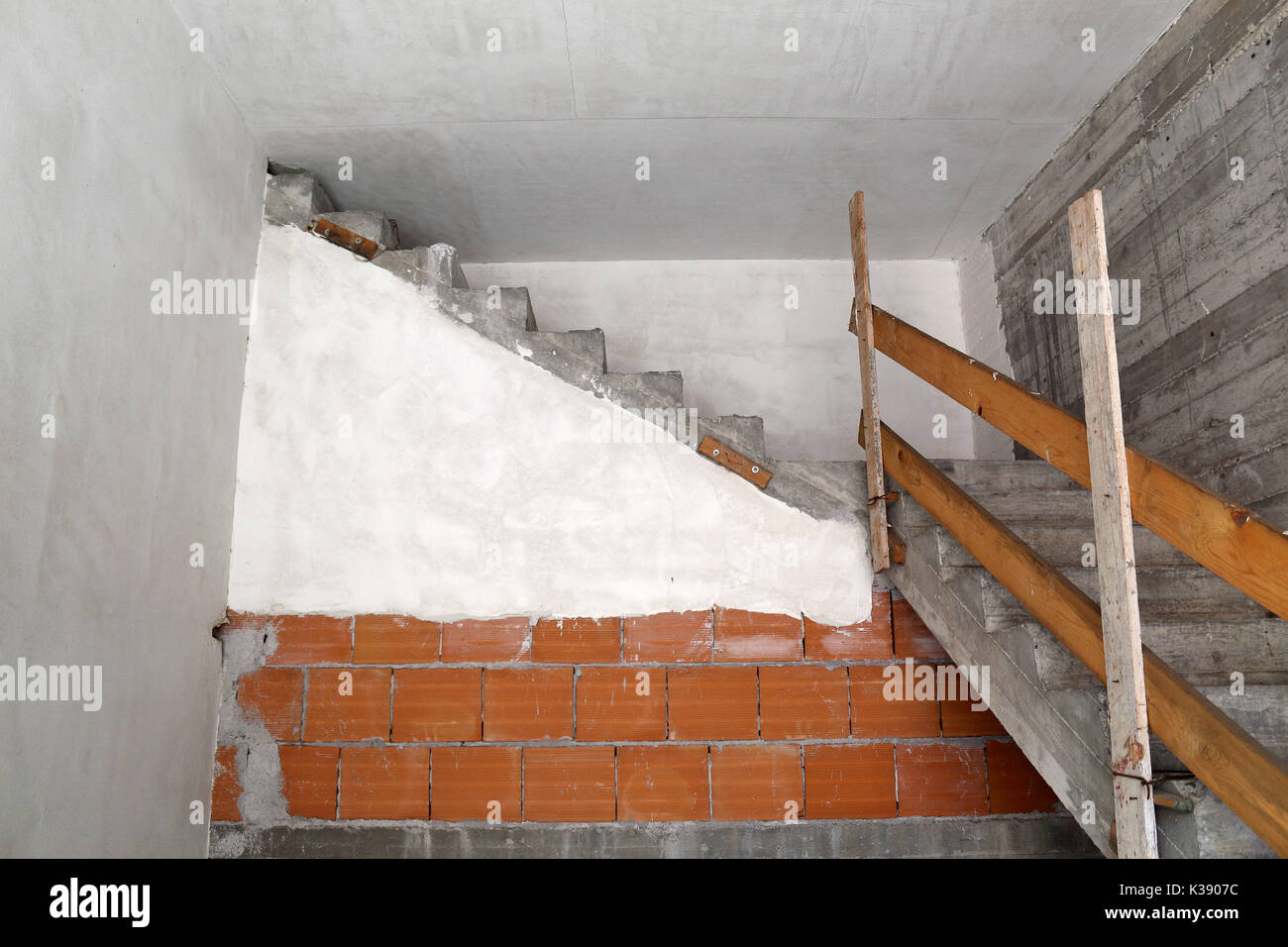 Concrete staircase leading to nowhere. - Stock Image
