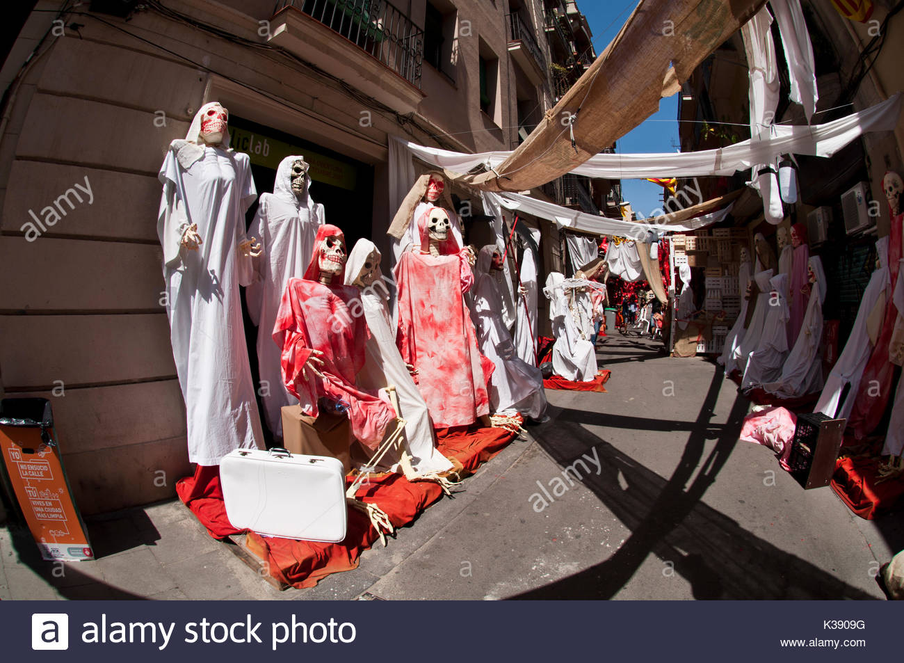 Fiestas de Gracia, Peligro Street, Gracia District, Barcelona, Spain - Stock Image