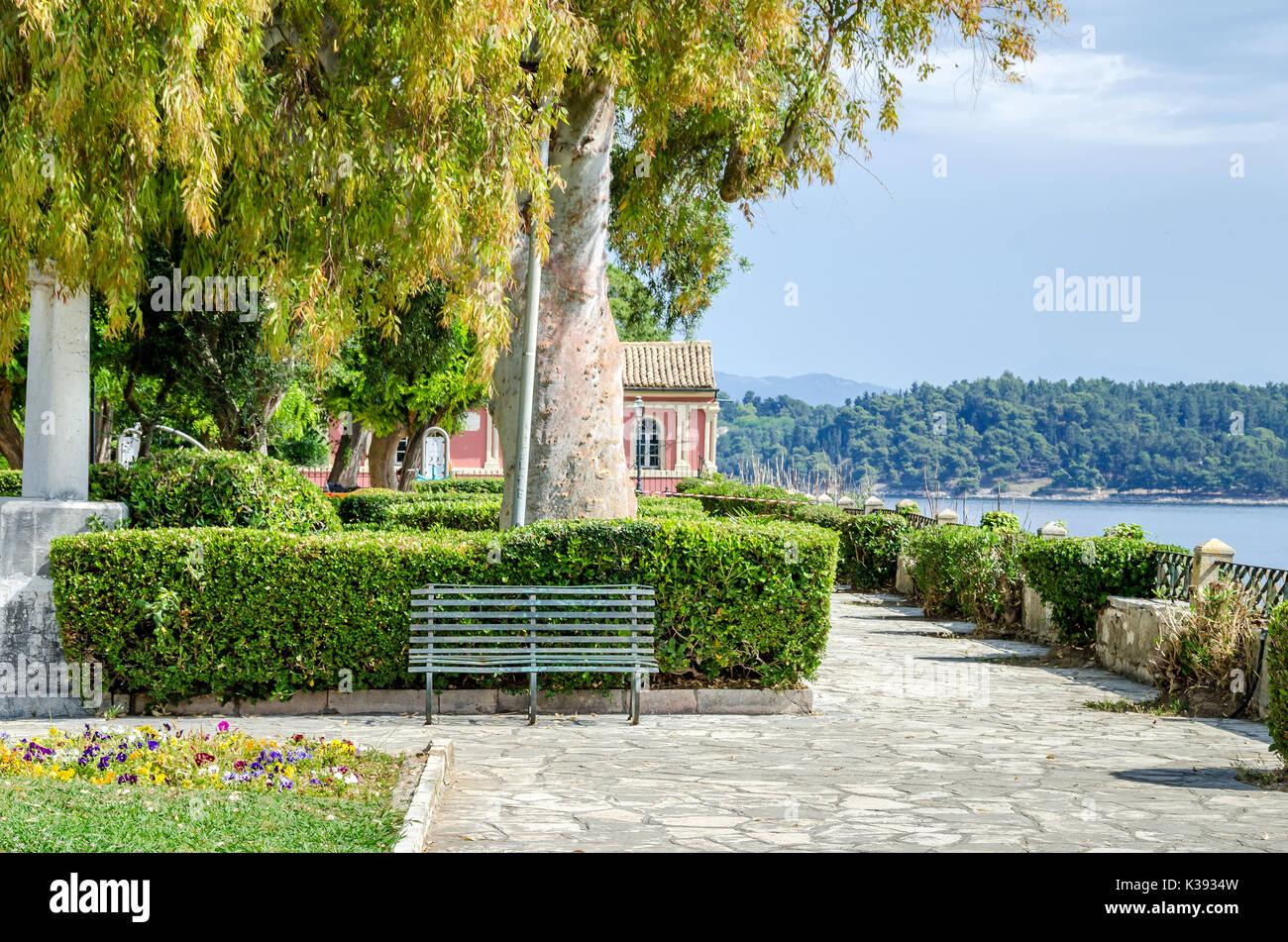 Boschetto Park or Boschetto Garden - a public garden in the old Town of Corfu, Greece. - Stock Image