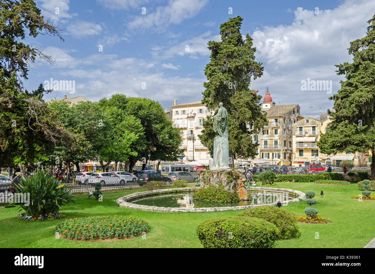 Corfu, Greece - June 7, 2017: Garden of the former Residence of the British Lord High Commissioner with the Statue of Sir Frederick Adam by Pavlos Pro - Stock Image