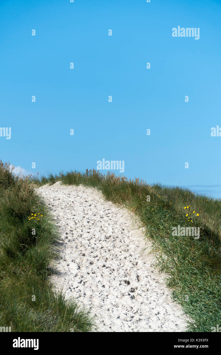 Sand track with footprints over a dune to the beach - Stock Image