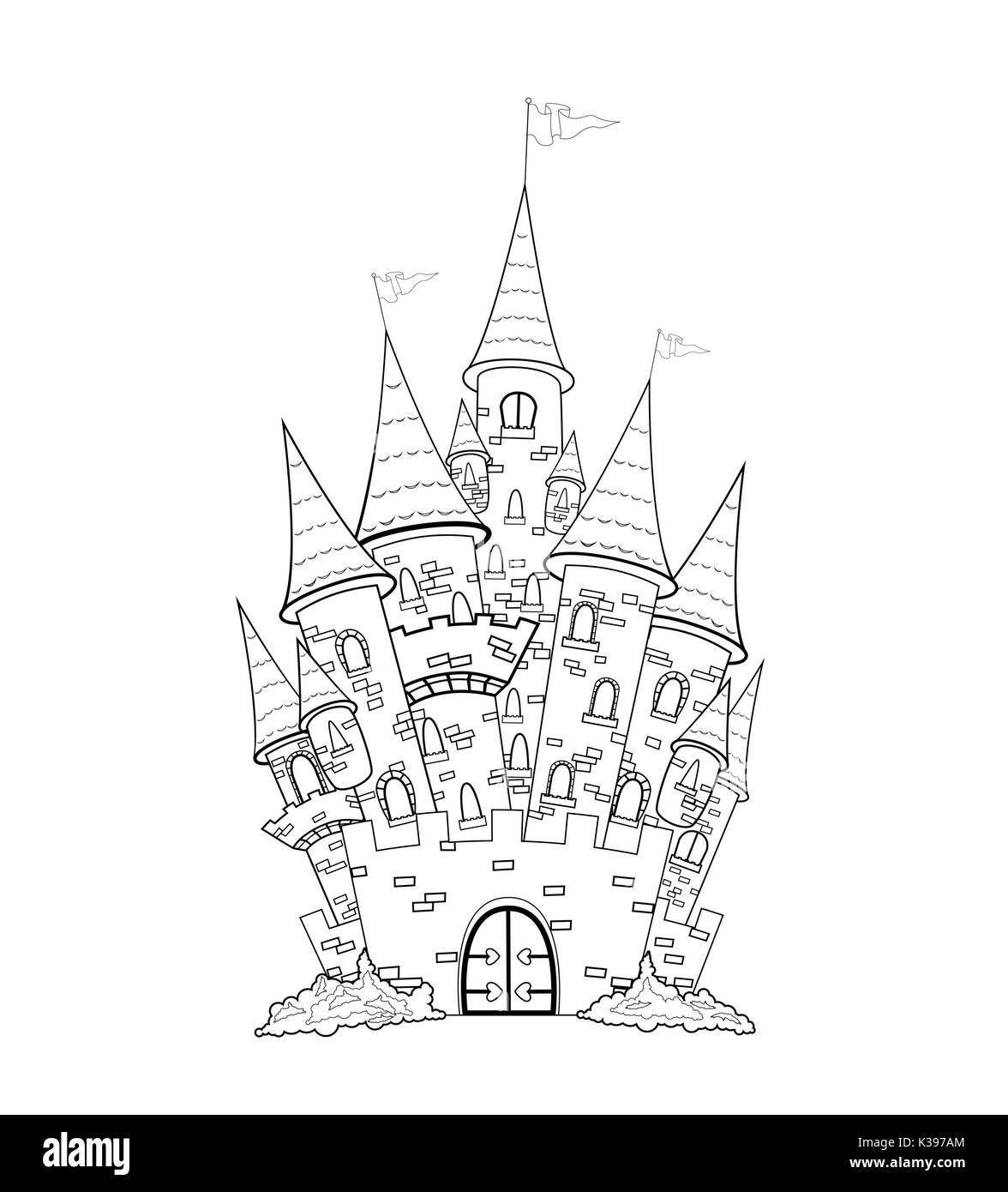 Castle Outline Sketch Of The Outlines On A White Background