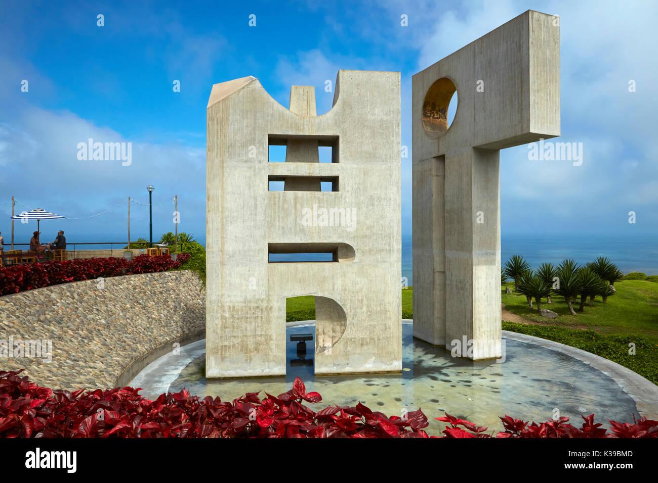 Intihuatana sculpture by Fernando de Szyszlo, Intihuatuna Park, Miraflores, Lima, Peru, South America - Stock Image
