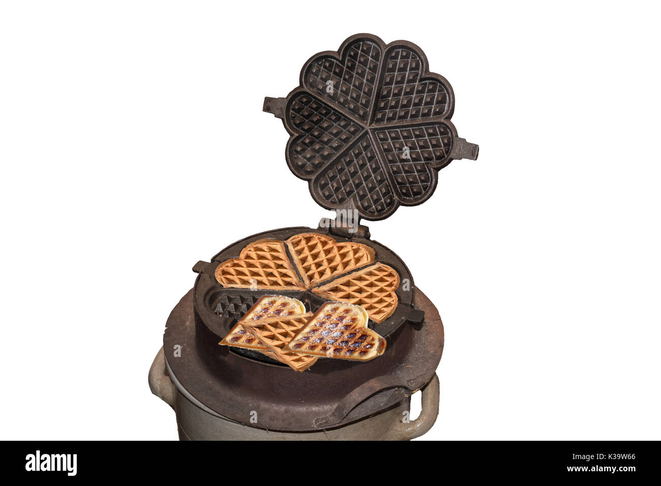 Antique cast iron waffle maker for the open fire place. - Stock Image