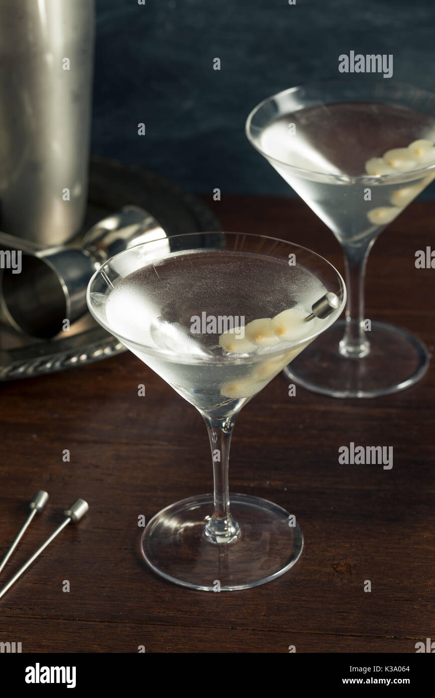 Homemade Boozy Gibson Martini with Cocktail Onions Stock