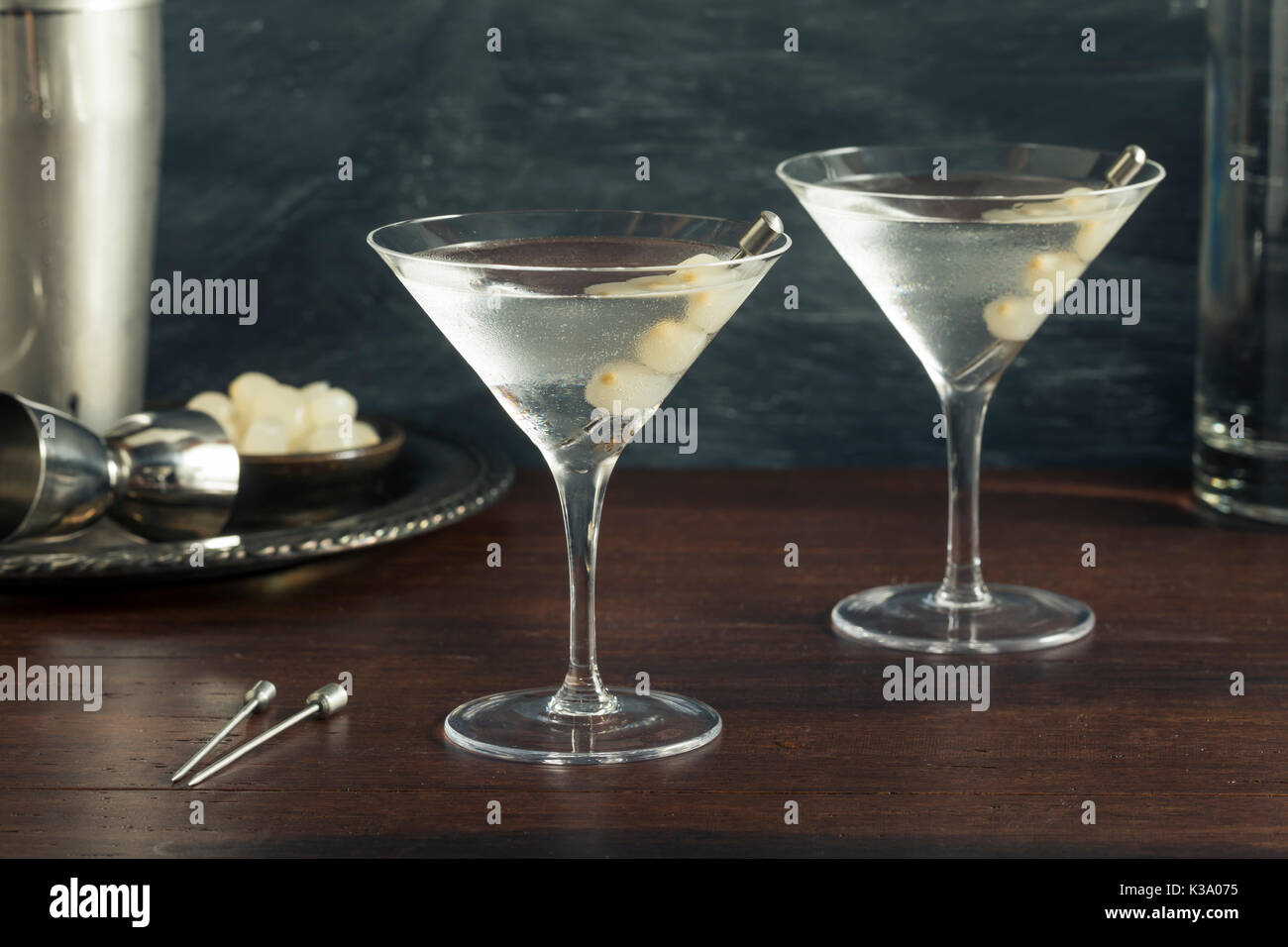 Homemade Boozy Gibson Martini with Cocktail Onions Stock Photo
