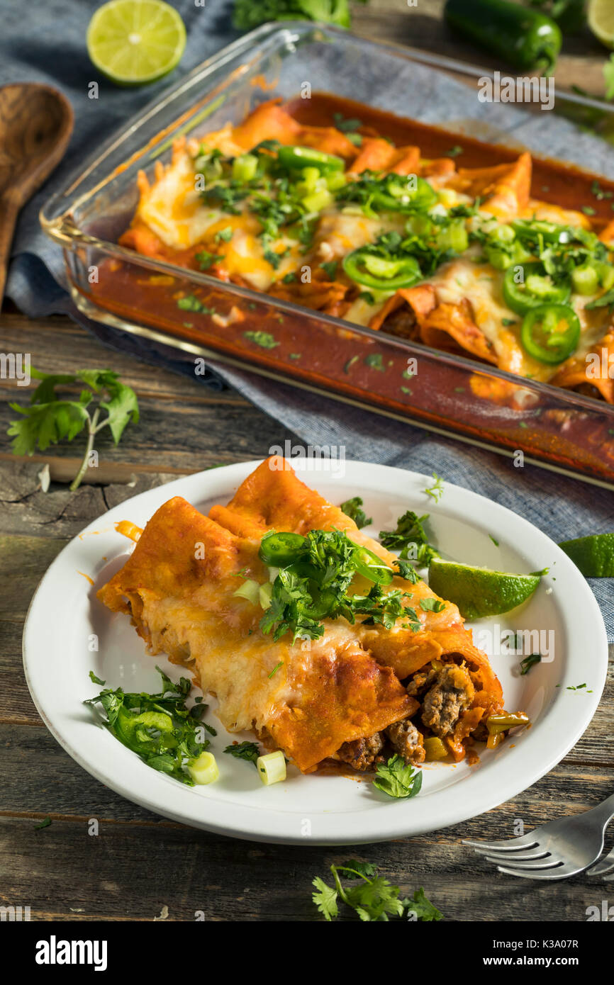 Homemade Beef Enchiladas with Red Sauce and Cilantro Stock Photo