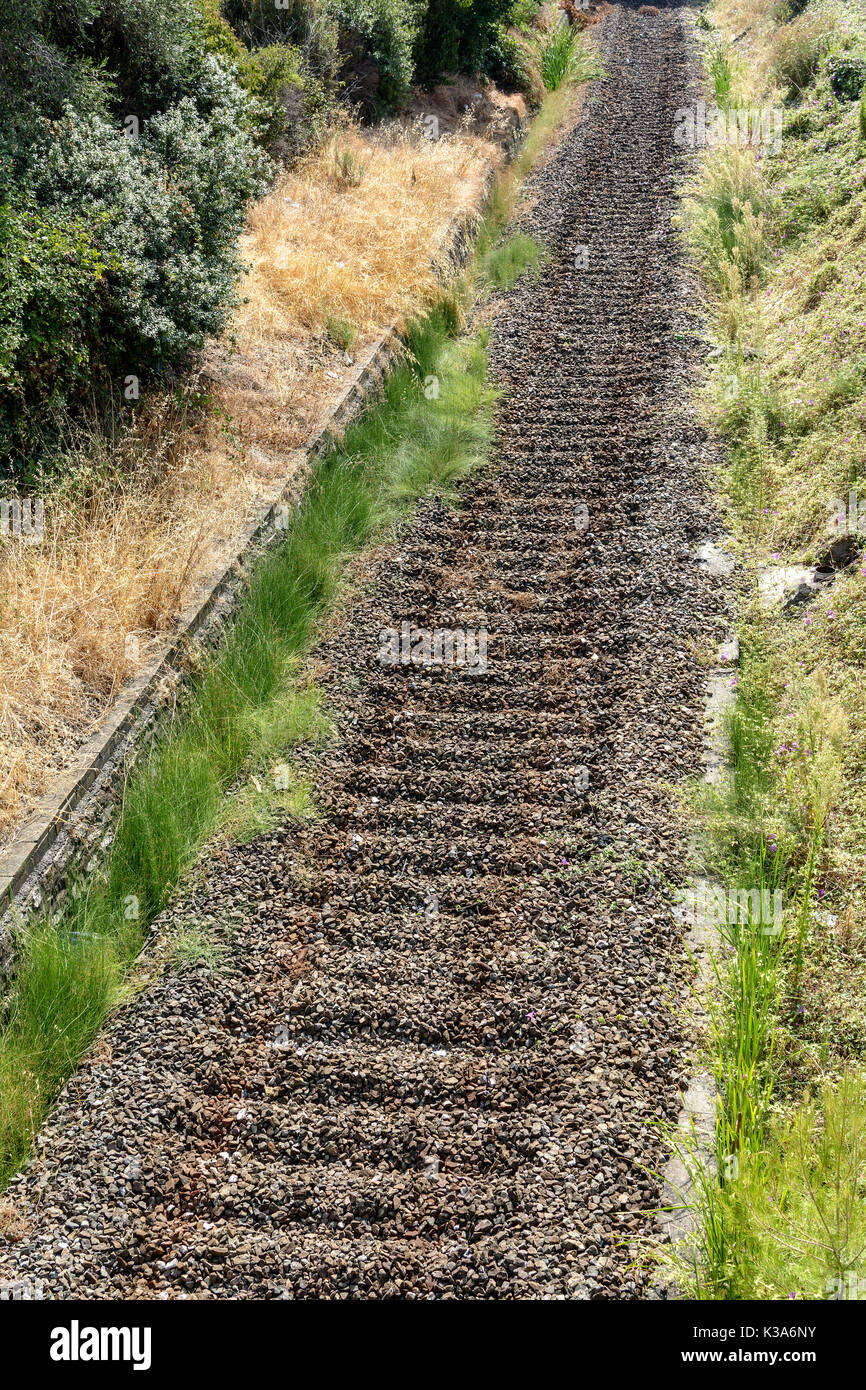 railway with massive rocks of train rails without tracks - Stock Image