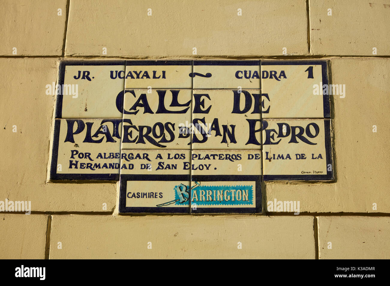 Old street sign for Calle de Plateros de San Pedro (Street of Silversmiths), Historic centre of Lima (World Heritage Site), Peru, South America - Stock Image