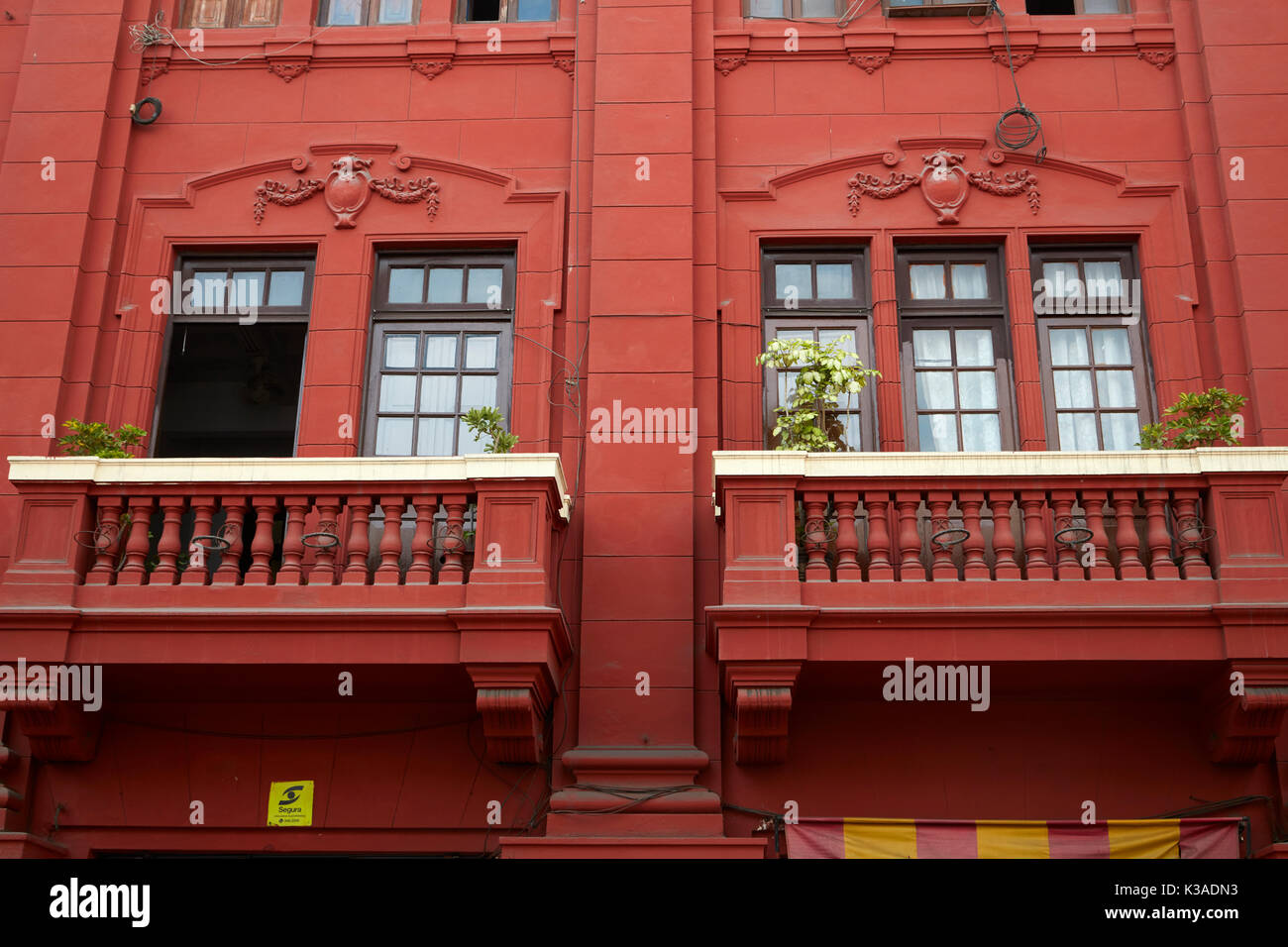 Red balconies, Historic centre of Lima (World Heritage Site), Peru, South America - Stock Image