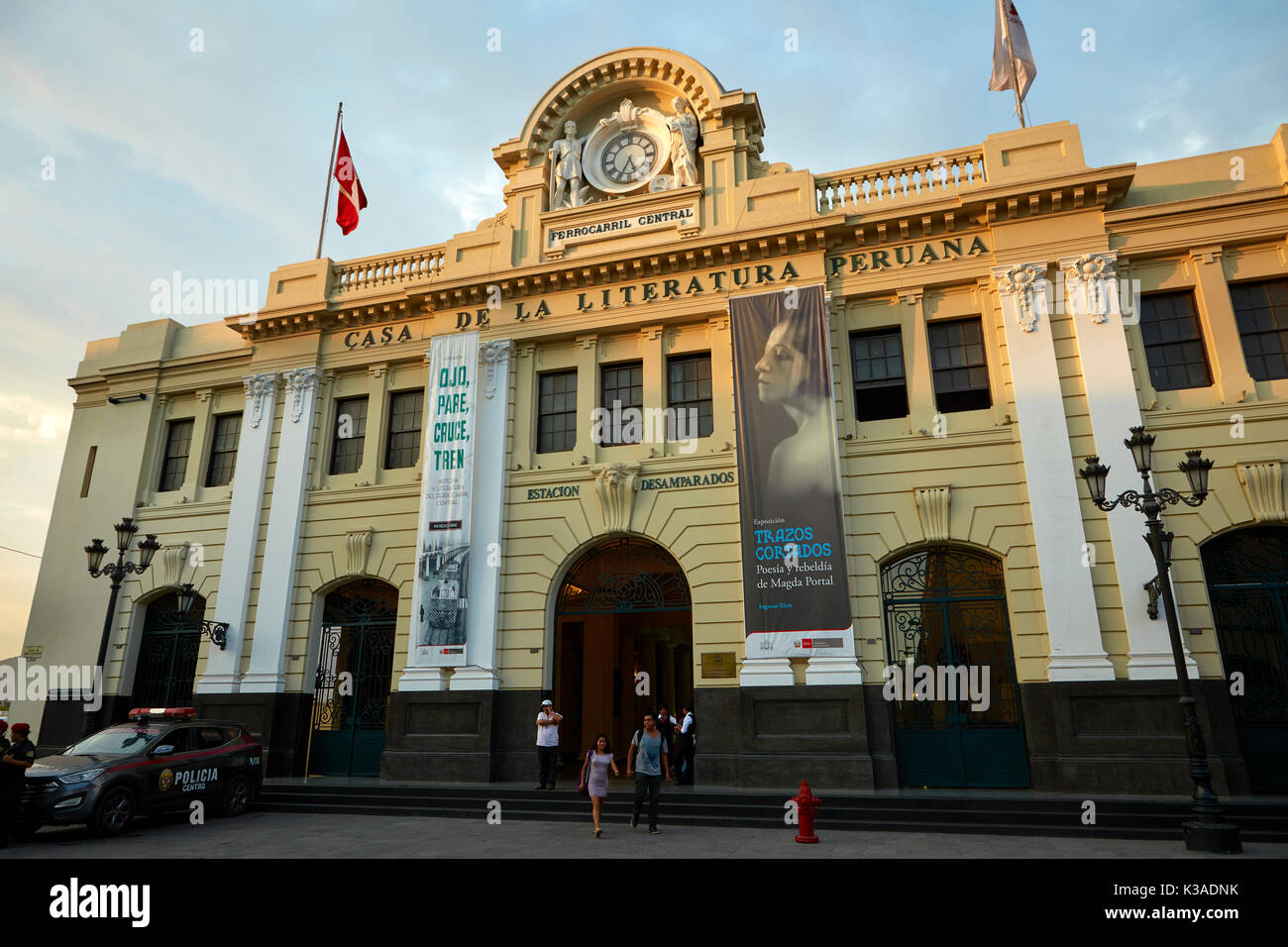 House of Peruvian Literature (formerly Railway Station), Historic centre of Lima (World Heritage Site), Peru, South America - Stock Image