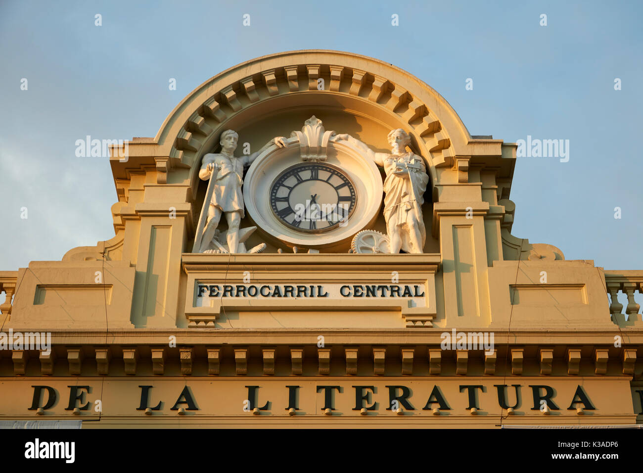 Clock tower on House of Peruvian Literature (formerly Railway Station), Historic centre of Lima (World Heritage Site), Peru, South America - Stock Image