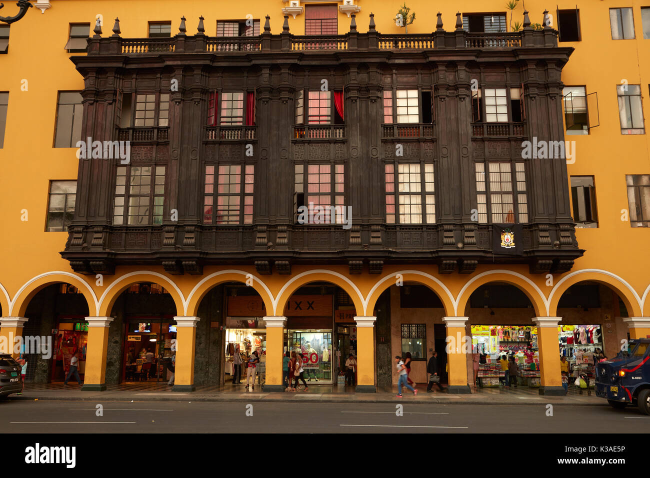 Ornate wooden balconies on historic building in Plaza Mayor, Historic centre of Lima (World Heritage Site), Peru, South America - Stock Image