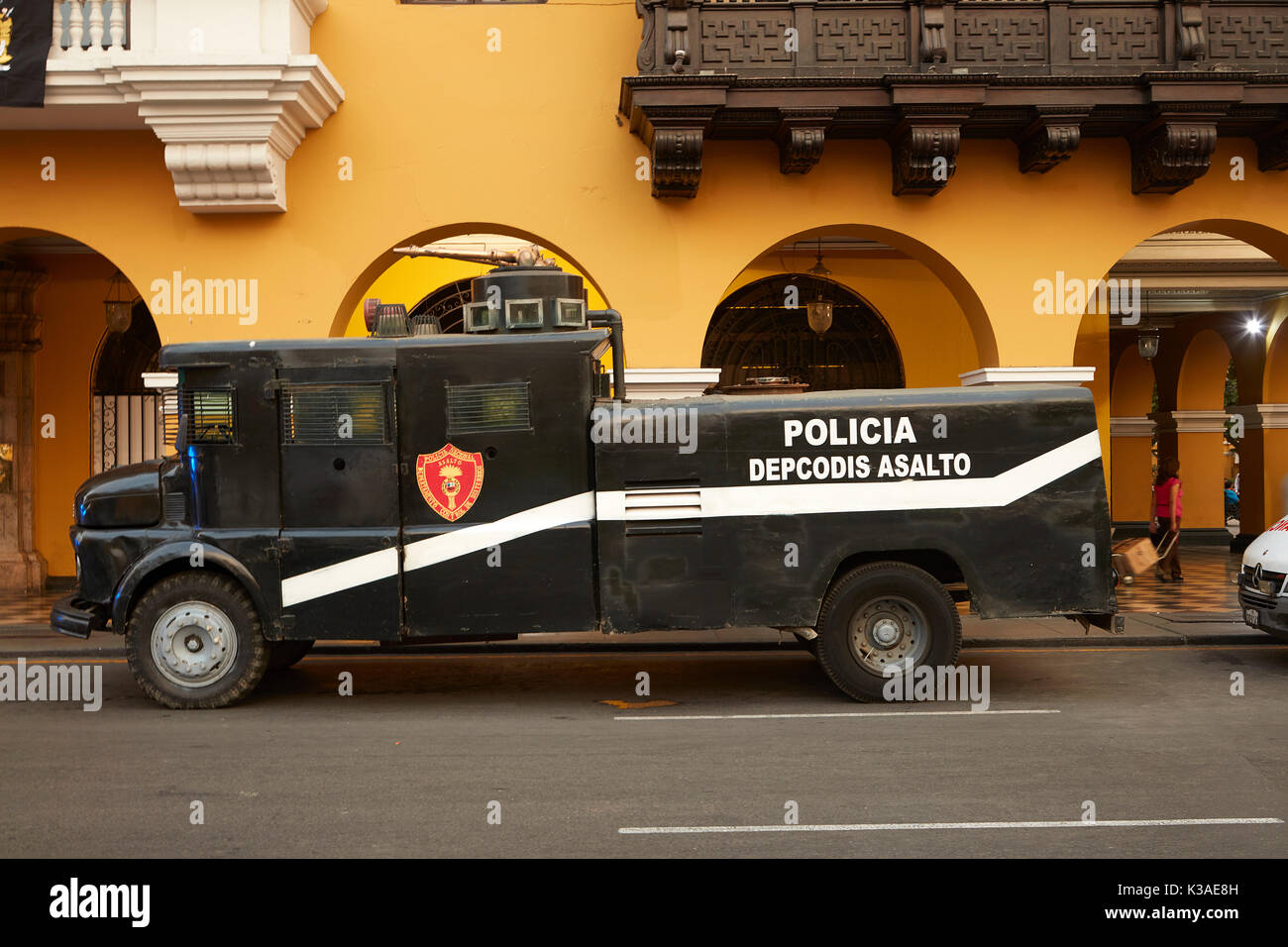 Police truck with water cannon, Plaza Mayor, Historic centre of Lima (World Heritage Site), Peru, South America - Stock Image