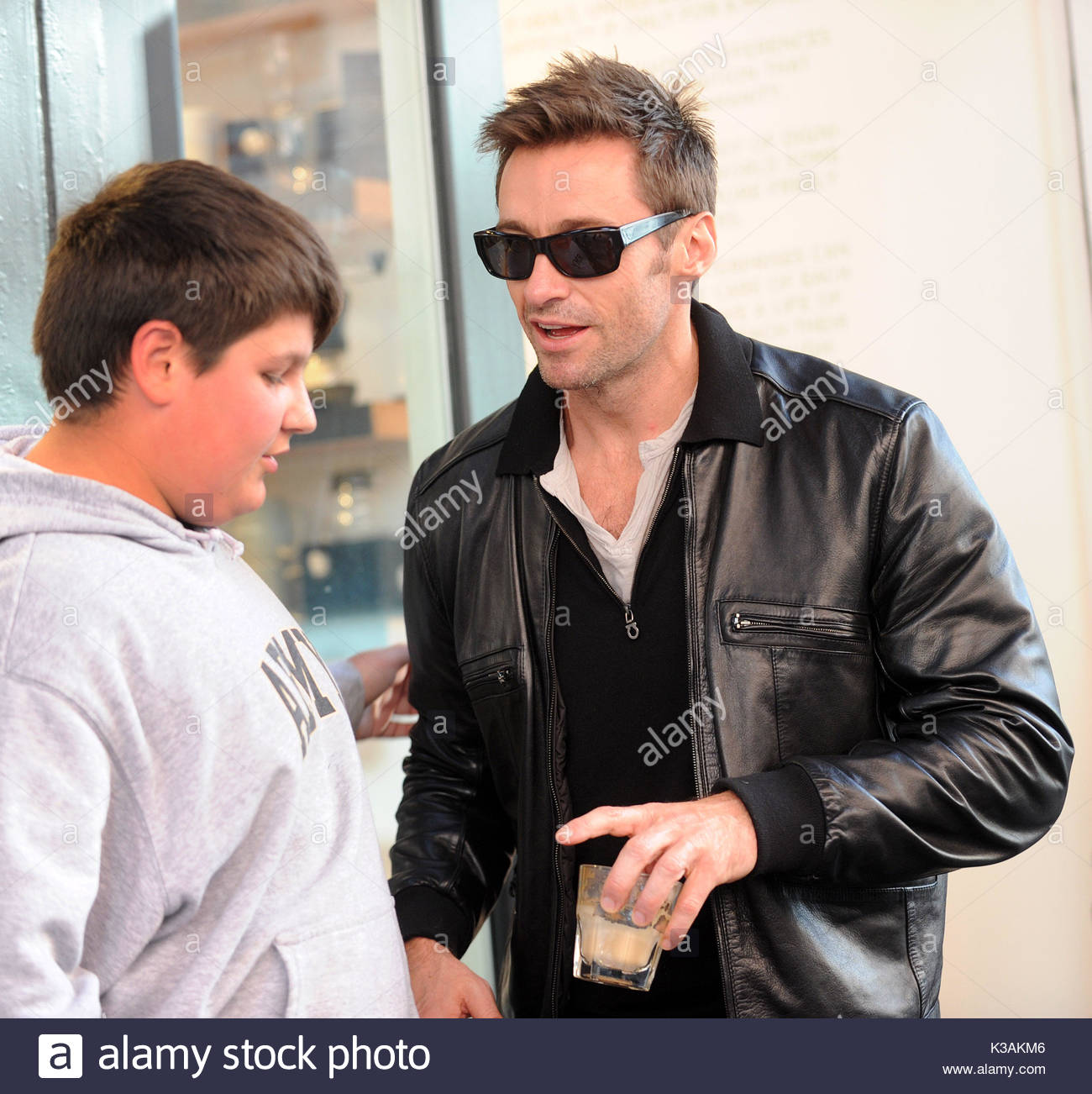 Hugh Jackman Actor Has Opened A New Shop Called Laughing Man Coffee Tea In Tribeca York City Came Outside With And Posed
